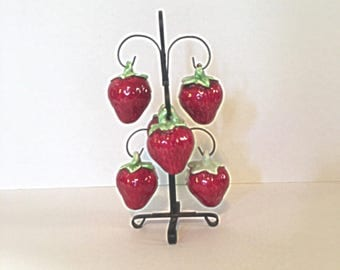 Vintage Strawberry Salt and Pepper Shakers - 6 Strawberries with Metal Stand - Japan
