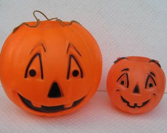 Large and Small Pair of Matching Vintage Blow Mold Jack O Lantern Trick-or-Treat Buckets, 1960s