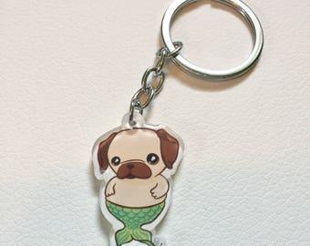 Mermaid Pug Merpug Acrylic Charm Keychain