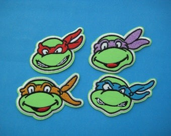 Sale~ Set of 4 pcs Iron-on embroidered Patch Ninja Turtles 2.5~3 inch