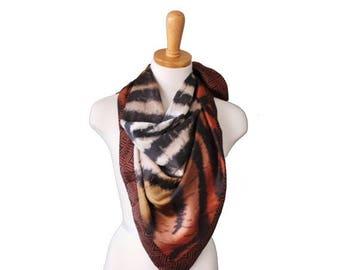 50% half off sale // Vintage 90s Nicole Miller Studio Animal Print Scarf - Brown Black Silk - Designer Fashion
