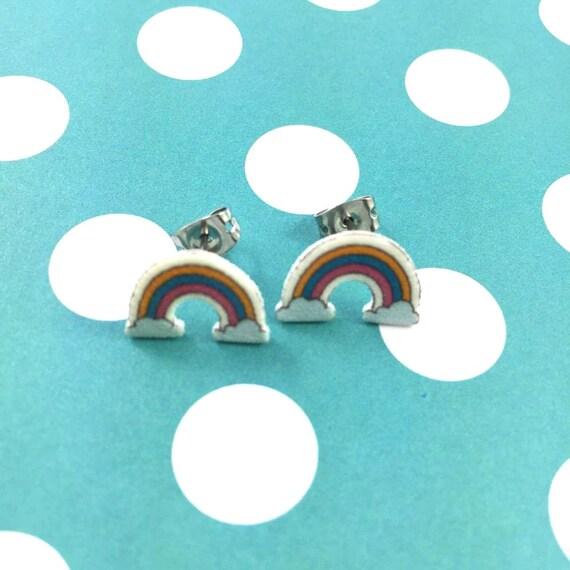 rainbow, stud earring, fairy tail, print on plastic, shrink plastic earring, stainless stud, handmade, les perles rares