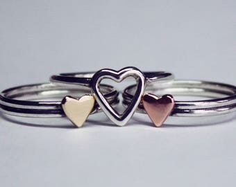 I HOLD your HEART forever. Set of three rings. Mom, daughters, sisters rings, friends. Silver, cooper, brass. Adjustable or sizes.