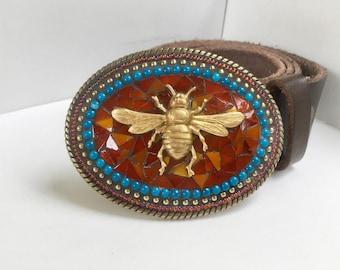 Bee Buckle, Mosaic Belt Buckle, Bumblebee, Large Buckle, Brass Buckle, Buckles for Women, Honey Bee, Blue Buckle, Unique Belt Buckle