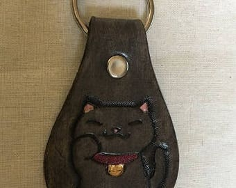 Black Maneki-neko Key Fob