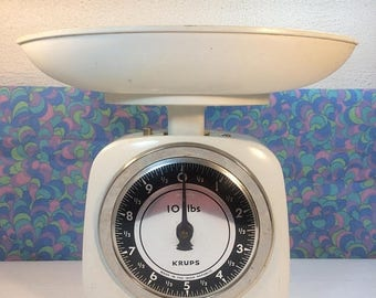 SALE 25% OFF Vintage Retro Krups Kitchen Scales White 1970s 10 lb Working Campervan Prop etc