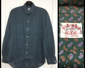 Vintage Brooks Brothers light weight soft all cotton dress shirt size 14 small green tiny print paisley patterned Ivy League preppy