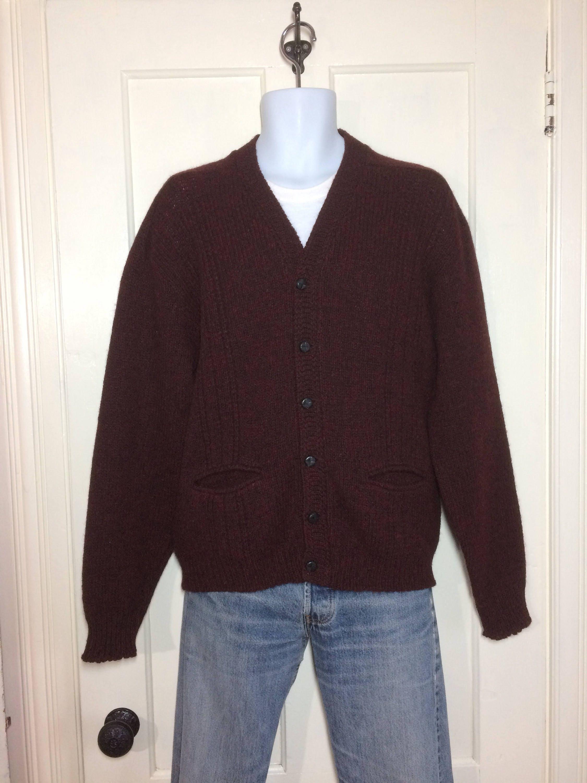 1960's pure Shetland wool cardigan sweater size large dark ...
