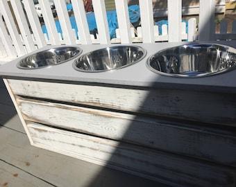 Medium/Large Three Bowl Dog Feeder Dog Bowl/ Feeder Stand