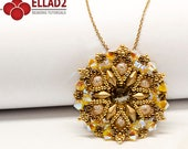 Tutorial Mina Pendant - Beading Tutorial, Beading Pattern, Diamonduo beads, Swarovski Yellow Opal, Instant download, Ellad2
