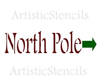 STENCIL North Pole Christmas Sign     10x3