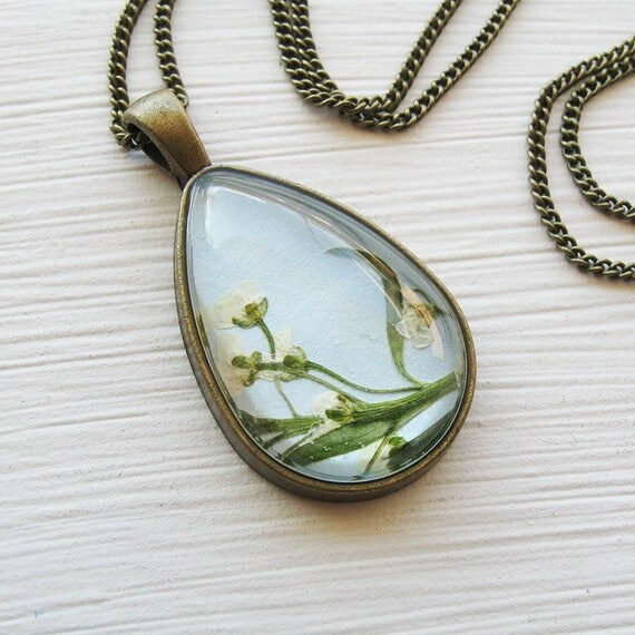 Real Pressed Flower Necklace - Baby Blue and Real Alyssum Botanical Teardrop Necklace