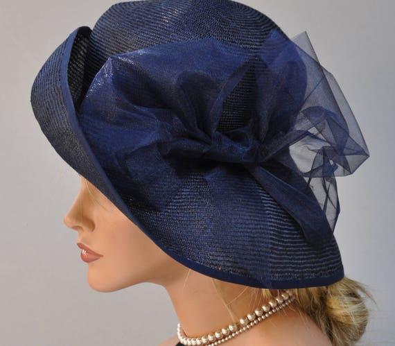Kentucky Derby Hat, Wedding Hat, Navy Wide Brim Hat, Ladies Formal Straw Hat Ascot Hat Derby Hat, Mother of Bride Hat, Event Hatt, Fancy Hat