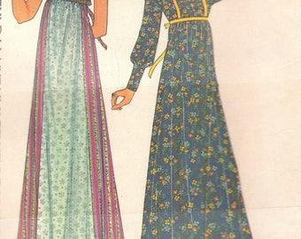 Vintage Romantic Long Dress Pattern BOHO Prairie Princess Hippie