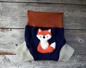 Upcycled Wool Soaker Cover Diaper Cover With Added Doubler Navy Blue/ Oatmeal/ Orange With Fox Applique MEDIUM 6-12M