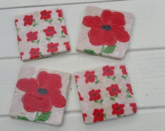 Poppy Coaster Set of 4 Tea Coffee Beer Coasters