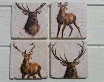 Country Stag Deer Stone Coaster Set of 4 Tea Coffee Beer Coasters