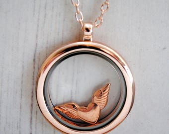 Heart Memory Locket Necklace, Winged Heart, Rose Gold Heart, Rose Gold Locket, Guardian Angel, Love Heart, Valentine, I Carry Your Heart
