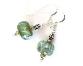 Green Lampwork Bead Earrings - Sterling Silver Earrings - Spring Green Earrings - Detailed Silver Beading - Lampwork Bead Jewelry