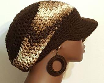 Brown Crochet Cap Hat with Earrings by Razonda Lee Razondalee