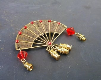 Vintage Japanese Fan Brooch- Oriental Pin