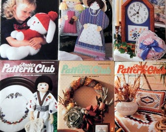 Annie's Pattern Club Newsletter Magazine Full year 1989  Crochet Dolls, Afghans, Sew Pillows, Quilts, Baby, Animals & More