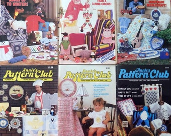 Annie's Pattern Club Newsletter Magazine Full year 1987  Crochet Penguin, Afghans, Sew Pillows, Dolls, Cats, Baby & More