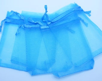 Turquoise Blue Organza Bags, Gift Bags, 25 pieces, 7x9cm (2.75x3.5 in), Wedding Favor Bags, Party Favor Bags, Gift Bags, Jewelry Pouches