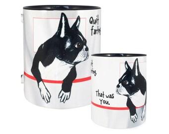 Farting Boston Terriers Black Mug by Pithitude
