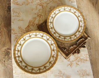 5 Antique Gilt Higgins & Seiter, Limoges Elite Works Luncheon Plates