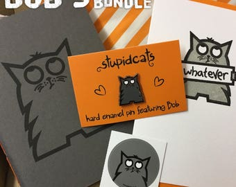 Bob's Whatever Bundle, Cat Stationery, Enamel Pin, Cat Notebook, Cat Card, Whatever Card, Cat Lover Gift