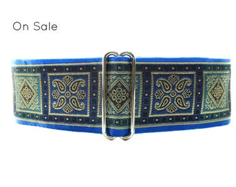 2 inch Martingale Collar, Blue Martingale Collar, Jacquard Dog Collar, Jacquard Martingale Greyhound Collar, Martingale Collar for Boys