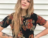 Eco Cropped Gypsy Shirt,Size S/M ,festival clothing, hippie top,eco cropped top,  black rose crop top, off the shoulder top, Zasra