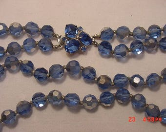Vintage Blue Aurora Borealis Glass Crystal Beads Two Strand Necklace  18 - 934