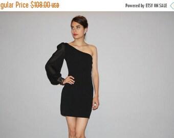 On SALE 35% Off - 1980s One Arm Bandit One Shoulder One Sleeve Little Black Dress LBD -  Little Black  Dress  -  Vintage Black Short Cocktai
