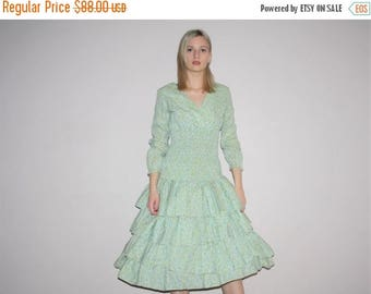 On SALE 35% Off - 50s Vintage Floral Prairie Boho Frilly Prairie Cupcake Dress - Vintage 1950s Dresses - W00674