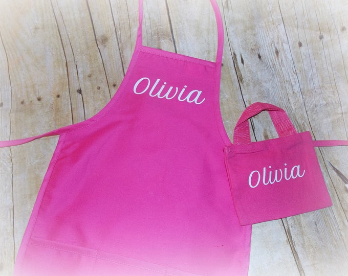 Personalized toddler size apron and tote - vinyl personalize kid gift - apron and tote - birthday party favor - ages 2-5 only - party favor