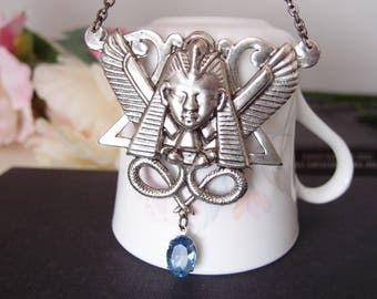 Egyptian goddess necklace, vintage aqua blue glass jewel, aged stelring silver plated brass N049