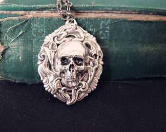 Water lily Skull-Victorian skull cameo gothic necklace,S026