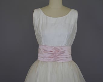 Vintage 1950s Dress / 1950s Sundress Wedding Gown / Vintage Wedding Dress / Organza Vintage Bride / Lavender Bridal Gown 1950s Wedding Dress