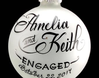 Engagement Ornament, Personalized, gift boxed