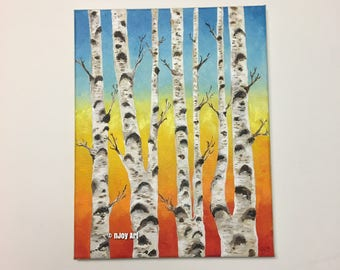 Birch Trees at Sunset,11x14 inch acrylic on canvas painting, Floral Art for Home or Office