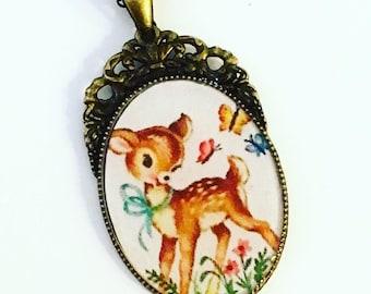 Vintage Deer Pendant Necklace