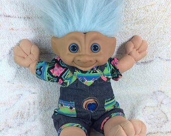 SUMMER SALE Plush Troll Doll Jewel Belly Treasure Troll 1990s Ace Novelty Co Plush Troll Doll with Original Outfit