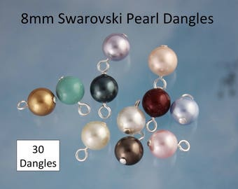 30 (Thirty) 8mm Swarovski Pearl Dangles- silver, gold, gunmetal, antique brass or copper plated loops- simple loop wire wrapped drops
