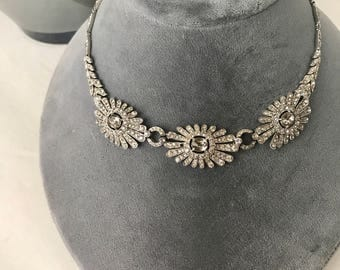 Fabulous Vintage TRIFARI Rhinestone Necklace Superb Link Signed