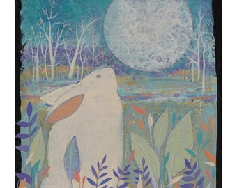 Rabbit & Moon, small painting, Art, Painting on Canvas , original artwork, 6 x 6 inches,home decor,wall art