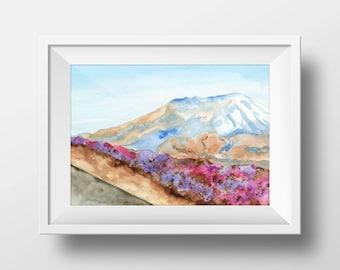 Mount Saint Helens Print from Original Watercolor