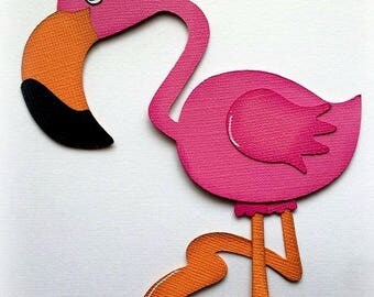 Adorable flamingo bird animal premade paper piecing 3d die cut by my tear bears kira