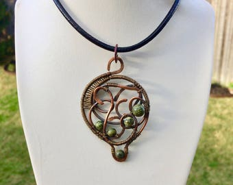 One of a Kind Copper Pendant / Snakeskin Agate Pendant/ Feng Shui Jewelry / Chakra Jewelry /Reiki Energy